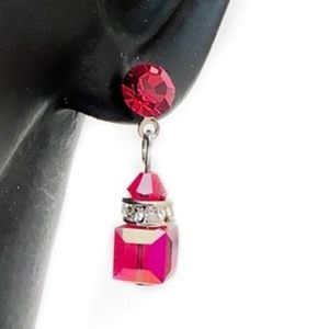 Small Red Crystal Rhinestone Drop Earrings